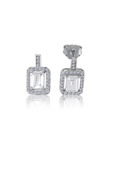 Pırlanta Montur Emerald Taşlı Gümüş Küpe