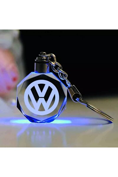Volkswagen Logolu Led Işıklı 3d Araba Anahtarlığı Yedek Pil Hediye