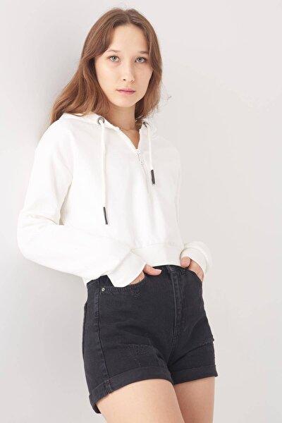 Kadın Ekru Fermuar Detaylı Kısa Sweatshirt S8605 - E12 ADX-0000019755