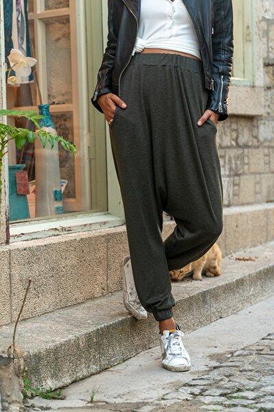 Kadın Haki Beli Lastikli Cepli Yün Salaş Şalvar Pantolon GK-BST2992
