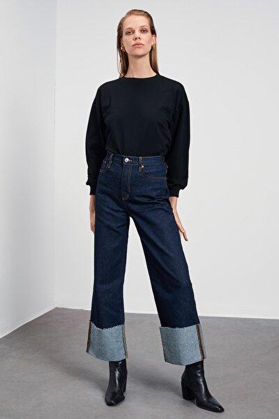 Siyah Basic Örme Sweatshirt TWOAW21SW1515