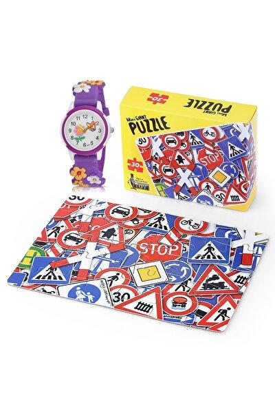 Çocuk Kol Saati Ve Eğitici 30 Parça Mini Puzzle Hediyesi Ile Birlikte Saat Mor Renk