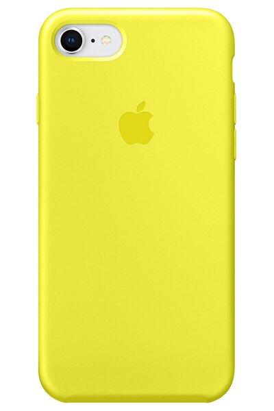 Iphone 6 6s Logolu Lansman Kılıf Altı Kapalı Iç Kısmı Kadife - Sarı