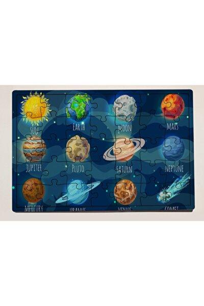 Uzay Tasarımlı 35 Parça Ahşap Puzzle Yapboz