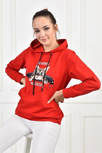 Kadın Kırmızı Fermuarlı Kedi Aplikeli Kanguru Cepli Kapüşonlu Sweatshirt