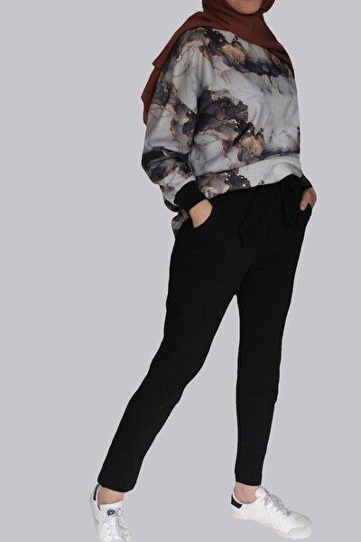 Kadın Siyah 2 Iplik Havuç Pantolon