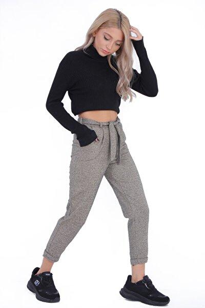 Kadın Bej Desenli Penye Şık Pantolon