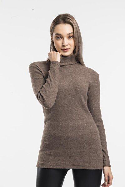 Kadın Kahverengi Boğazlı Kazak 7090