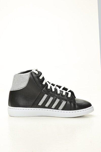 Kadın Siyah Gümüş Uzun Spor Ayakkabı