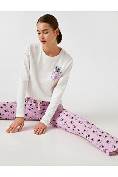 Pamuk Baskili Pijama Takimi