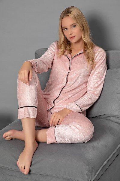 Düğmeli Kadife Pijama Takım