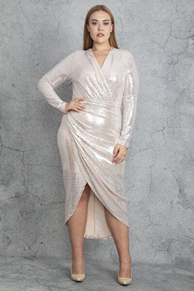 Kadın Somon Payet Bel Detaylı Elbise 65N19612