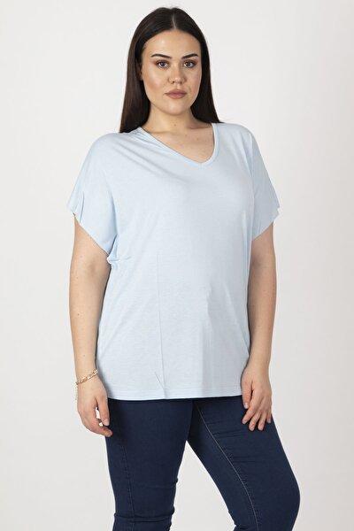 Kadın Mavi V Yakalı Oversize T.Shirt 65N19450