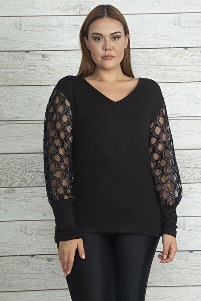 Kadın Siyah Kol Detaylı Bluz 65N19735