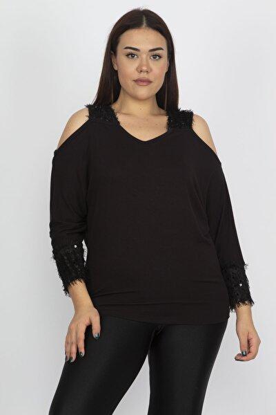 Kadın Siyah Omuz Ve Kol Detaylı Viskon Bluz 65N19457