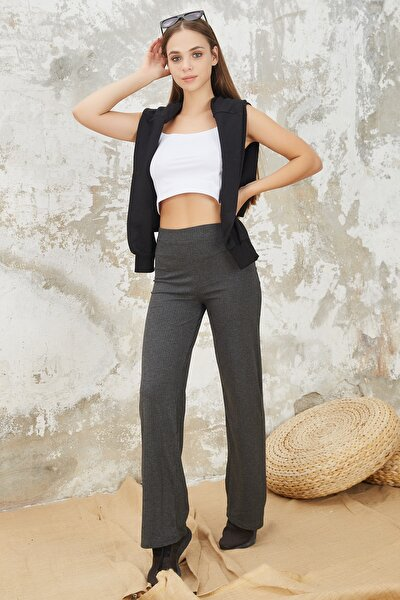 Kadın Antrasi Beli Lastikli Bol Paça Kaşkorse Rahat Pantolon