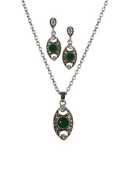 Kadın Yeşil Akik Taşı Kolye Ve Küpe Set Bs221629