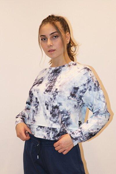 Kadın Siyah Crop Batik Sweatshirt