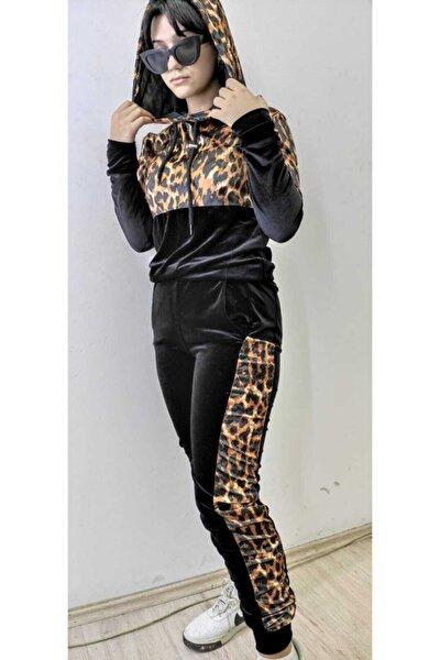 Kadın Siyah Leopar Desenli Takım