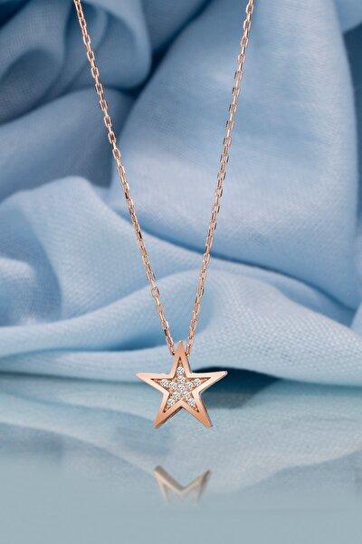 Gümüş Kolye Orijinal Swarovskı Taşlı Yıldız Temalı Rose Kaplama Bayan Kolye