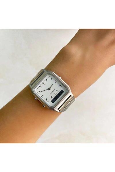 Gri Çift Göstergeli Kadın Saat