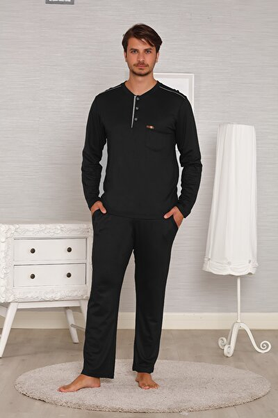 Siyah Çelikli Interlok Uzun Kollu Kışlık Penye Erkek Pijama Takımı