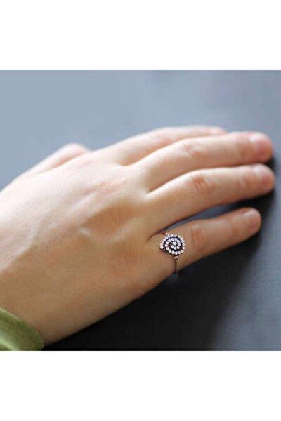 Zirkon Taşlı Helezon Tasarım Rose 925 Ayar Gümüş Bayan Yüzük