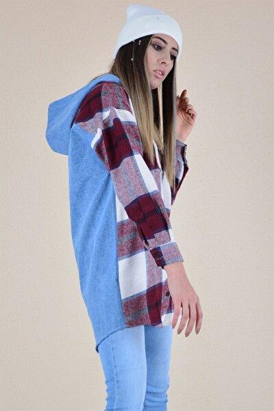 Kadın Bordo Önü Oduncu Arkası Kot Kapşonlu Gömlek