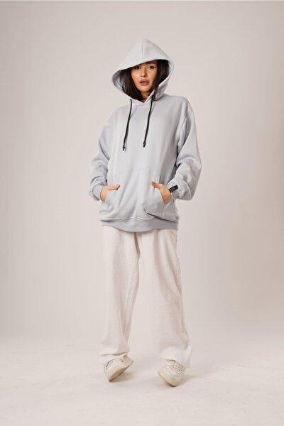 Unisex Açık Mavi Basic Oversize Sweatshirt