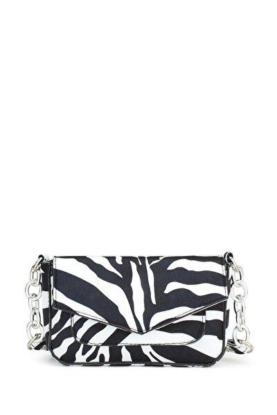 Kadın Zebra Desenli Zincir Detaylı Çapraz Askılı Çanta 196