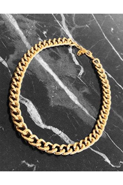 Gold Kaplama Büyük Boy Kalın Gourmet Zincir Kolye 40+5 cm