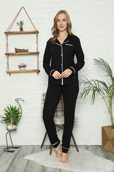 Kadın Siyah Düğmeli Uzun Kol Pamuklu Pijama Takımı