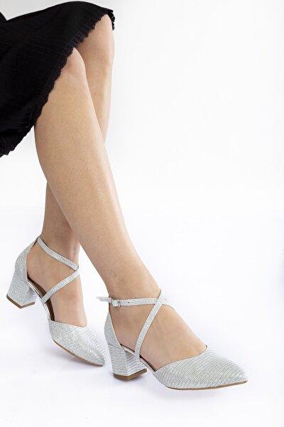 Gümüş Mercan Topuklu Kadın Klasik Ayakkabı 710cnr