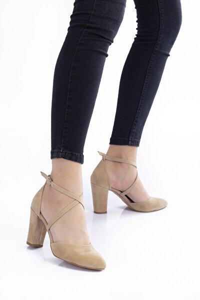 Vizon Süet Topuklu Kadın Klasik Ayakkabı 1310cnr