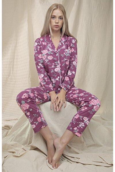 Kadın Mor Çiçek Desenli Önü Düğmeli Şal Yaka Pijama Takımı