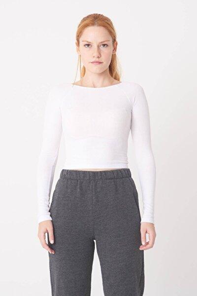 Kadın Beyaz Fitilli Uzun Kollu Bluz P1052 - I10İ11 Adx-0000022876