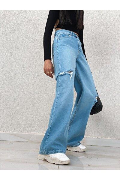 Kadın Mavi Yanları Kesik Detay Bol Paça Jean
