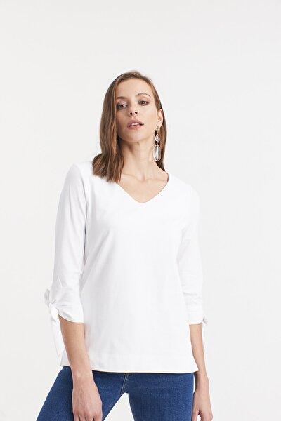 Kadın BEYAZ Kolları Bağlamalı Örme Bluz  HN2672