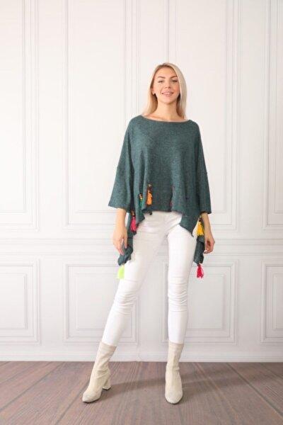 Kadın Yeşil Püsküllü Bluz