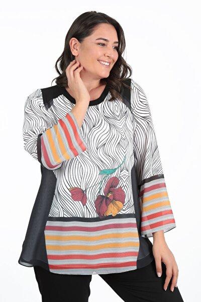 Kadın Turuncu Desenli Büyük Beden Bluz  Tunik