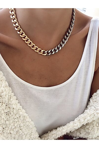 Kadın Altın Gümüş Kalın Zincir NMD2K067