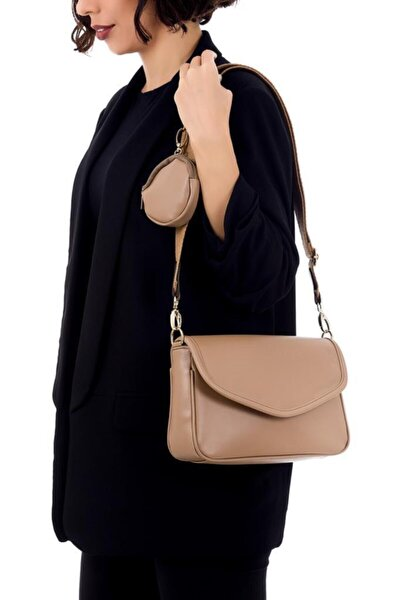 Kadın Ön Oval Kapaklı Çapraz Çanta