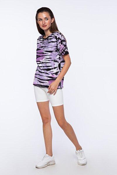Kadın Mor Batikli Kısa Kollu T-shirt