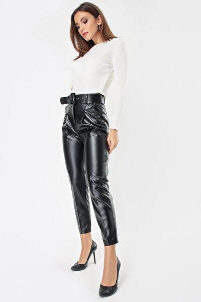 Kadın Siyah Beli Kemerli Deri Pantolon S-21K1490012