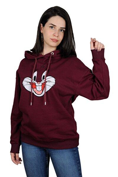 Kadın Mor Baskılı Oversize Sweatshirt