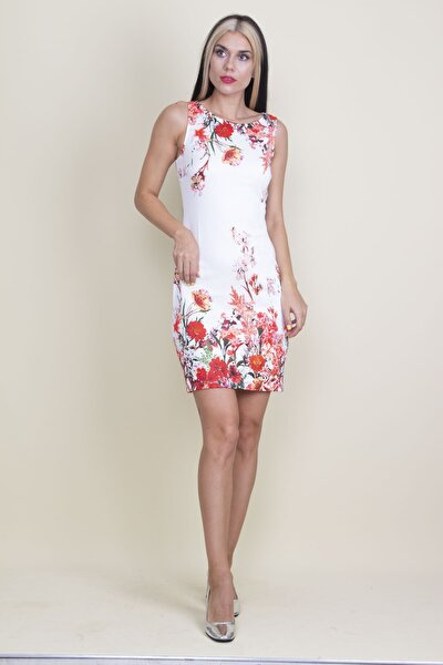 Kadın Ekru Çiçek Desenli Elbise