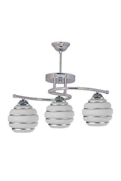 Dekoratif Modern Gümüş Camlı Şirin 3'lü Avize