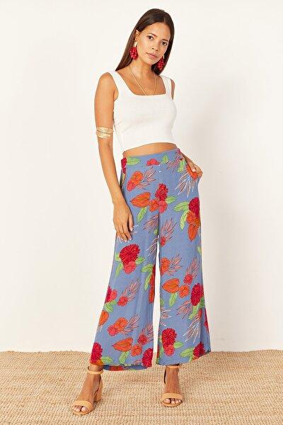 Kadın Mavi Desenli Bol Pantolon