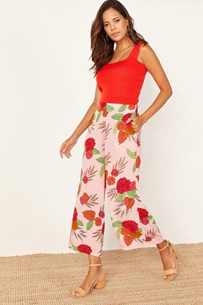 Kadın Pudra Desenli Bol Pantolon