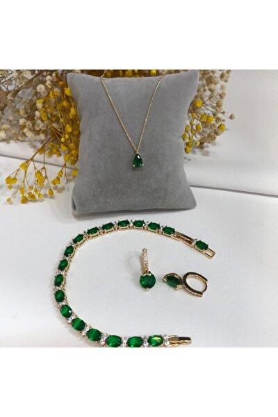 Kadın Gold Zümrüt Yeşili Zirkon Taş Kolye, Küpe Ve Bileklik Takımı